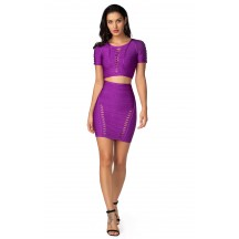 Herve Leger Celebrity Bandage Dresses Two Piece Cut Out Short Sleeve Purple