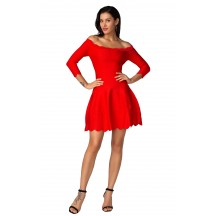 Herve Leger Bandage Dress Two Piece Boat Neck Flared Red