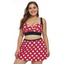 Red Polka Dot Plus Size Sexy Bikini Split Swimsuit