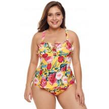 Plus Size Bikini Print One-Piece Sexy Swimsuit