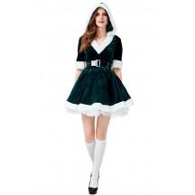 Christmas Costume Velvet Dark Green V-neck Bubble Hooded Dress