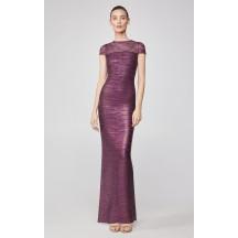 Herve Leger Tulle Applique Metallic Gown