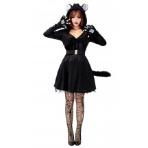 Halloween Animal Cosplay Black Cat Hooded Net Gauze Puffy Dress