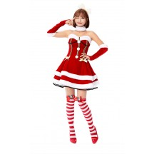 Sleigh Hottie Christmas Costume Princess Christmas Red Strapless Dress