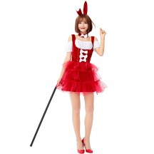 Bunny Rabbit In a Red Halloween Cake Dress