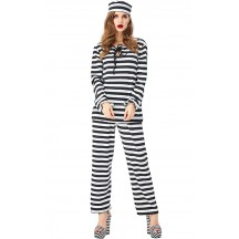 Halloween Prisoner Cosplay Black And White Striped Female Prisoner