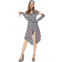 Halloween Prisoners Black and White Striped Stage Costume