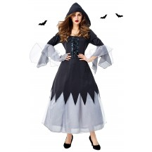 Halloween Female Mage Witch Black Robe