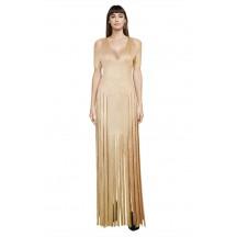 Herve Leger Bandage Dress Gown V Neck Tassels Gold
