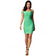 Herve Leger Bandage Dresses Off Shoulder Mint Green Mini Dress