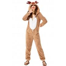 Elk Homewear Adult Coral Velvet Christmas Reindeer Jumpsuit Costume