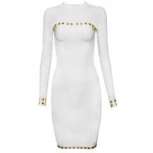 Herve Leger Bandage Dresses Long Sleeve Sequined O Neck Gauze White
