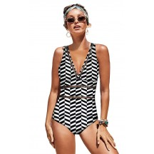Black And White Plaid One-Piece Halter Sexy Bikini