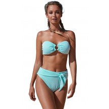 Summer's New Strapless Bikini High-Waisted Striped Split Swimsuit