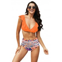 Summer Beach Sexy Orange Print High Waist Bikini
