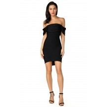 Herve Leger Bandage Dress Off Shoulder Black