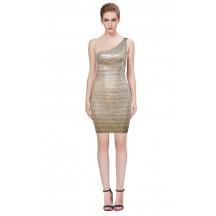 Herve Leger Bandage Dresses Sequin One Shoulder Backless Gold