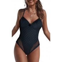 Holiday Black Lace Halter Triangle One-Piece Bikini
