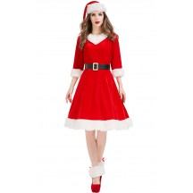 Christmas V-Neck Red Party Costume