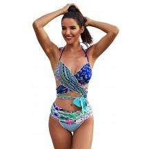 Sexy Printed Halterneck Strap Bikini Swimsuit