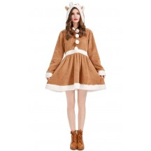 Christmas Cosplay Cute Elk Khaki Women's Pajamas