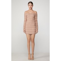 Herve Leger Off The Shoulder Metallic Mini Dress