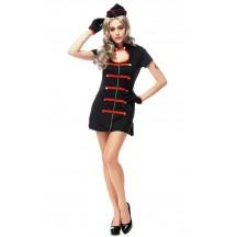 Sexy Girl Black and Red Trim Nurse Costume