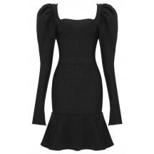 Women's Fashion Fluffy Long Sleeve Mermaid Hem Black Mini Evening Dress