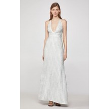 Herve Leger Metallic Eyelash Deep-V Gown