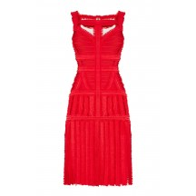 Herve Leger Eleanora Tulle Detail Dress