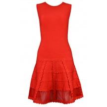 Herve Leger Bandage Dress Flared Gauze Red