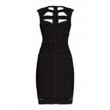 Herve Leger Madyson Chiffon Detail Dress Black