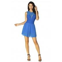 Herve Leger Mesh Bandage Dress Short Sleeves Blue