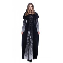 Halloween Costumes Vampire Witch Costume Black Maxi Dress