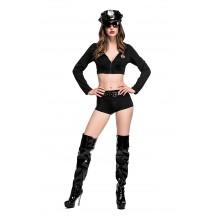 Halloween Split Black Policewoman Sexy Cop Costume