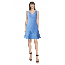 Herve Leger Bandage Dress Flared Tank Lace Blue