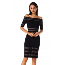 Herve Leger Leia Mesh Inset Off-Shoulder Dress