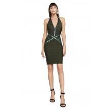 Herve Leger Bandage Dress Halter V Neck Sequined Green