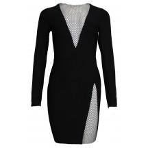 Black V-Neck Sequin Bandage Dress