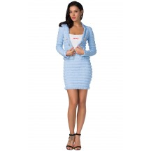 Herve Leger Bandage Dress Long Sleeve Jacket Two Piece Jacquard Button Blue