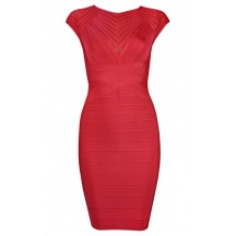 Herve Leger Bandage Dress Cap Sleeve Red