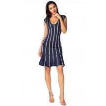 Herve Leger Isabel Chevron Knit Jacquard Dress