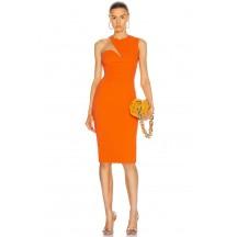 Orange O-Neck Sexy Mesh Patchwork Bandage Dress