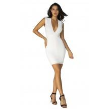 Herve Leger Bandage Dress V Neck White