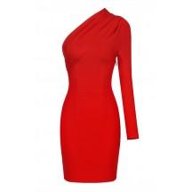 One Shoulder Long Sleeve Mini Bandage Dress