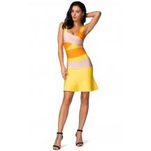 Herve Leger Bandage Dress Flared Yellow Orange Color Block