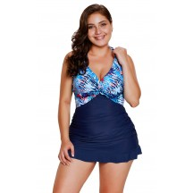 Blue Plus Size Swimsuit Two-Piece Palm Tree Print