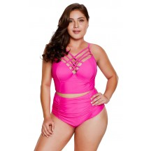 Solid Color Sexy High-Waisted Halter Plus Size Bikini