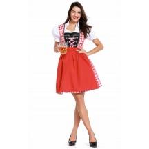 Womens Red Plaid Dress Oktoberfest Fraulein Costume