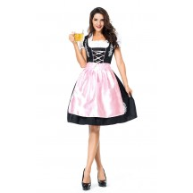Womens Dress Pink Embroidered Oktoberfest Fraulein Costume